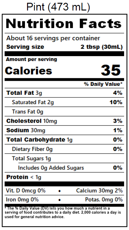 Half & Half Nutrition Label - Pint