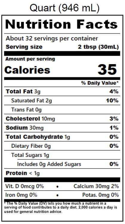 Half & Half Nutrition Label - Quart